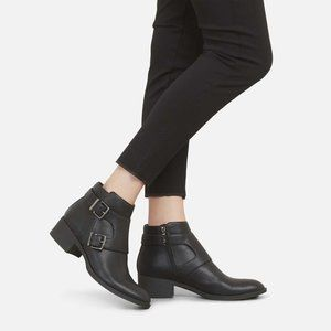 RE-BUCKLE LEATHER STRAP BOOT WITH BLOCK HEEL